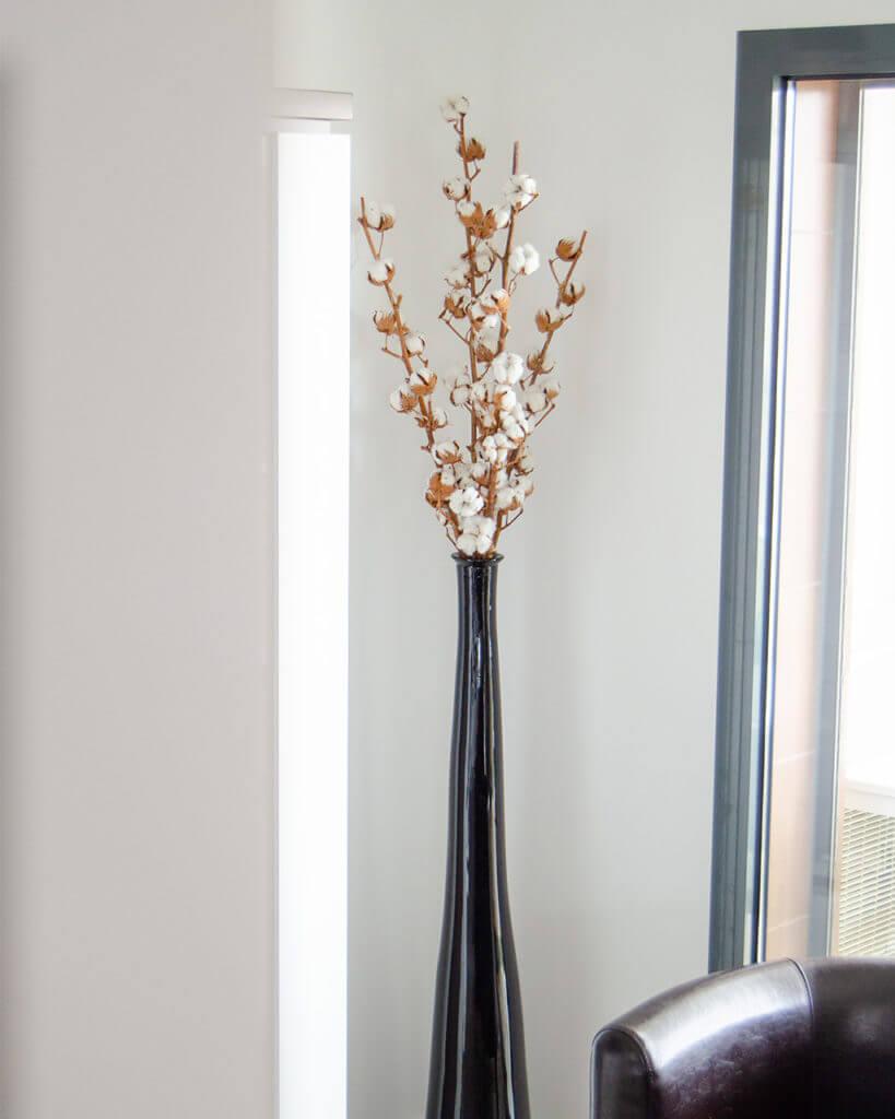 Hastes de Algodão da Flores no Cais numa jarra alta